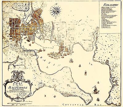 Old City Map - Baltimore Maryland - Folie 1792 - 23 x 26.32