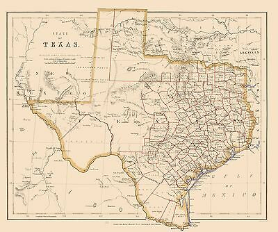 Old Map Of Texas.Old State Map Texas Stanford 1857 23 X 27 49