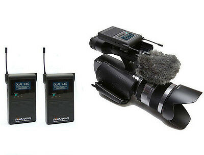 2.4GHz Dual Channel Wireless Stereo Interview Microphone for Camera Camcorder