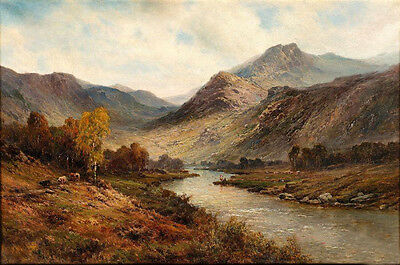 Oil painting landscape little river crossing the Hills in sunset canvas