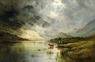 Oil painting before storm landscape with cows cattle by lake canvas