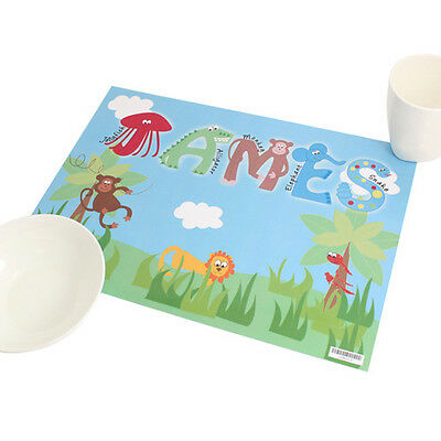 Personalised Animal Alphabet Placemat Childs Birthday Gift - Kids Table Saver