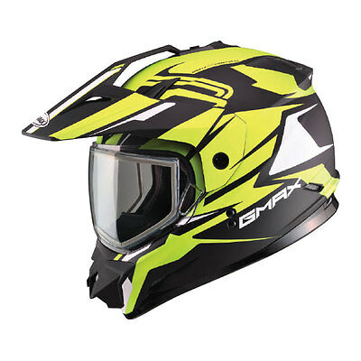 New Gmax Gm11 Hi-Vis Yellow Vertical Dual Sport Helmet Mx Atv Snow Visor Shield