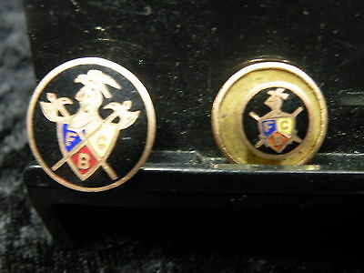 Antique Lot Of 2 Enamel Knights Of Pythias Screw Back Pins Matched Set See Me !