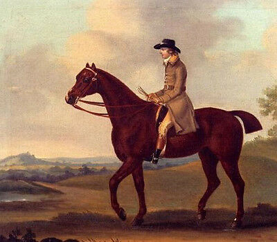 Oil painting Francis Sartorius - Horseman on Red Horse  In A Landscape
