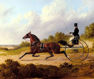 Oil painting - Gentleman on carriage with running red horse in landscape