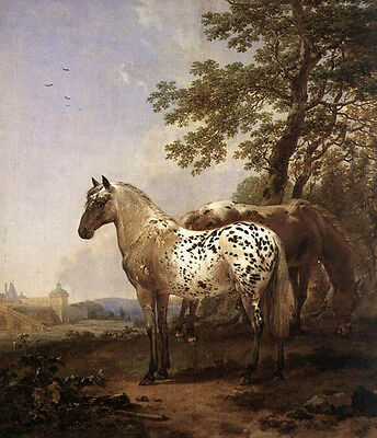 Oil painting Nicolaes Berchem - Landscape With Two Horses under the tree canvas