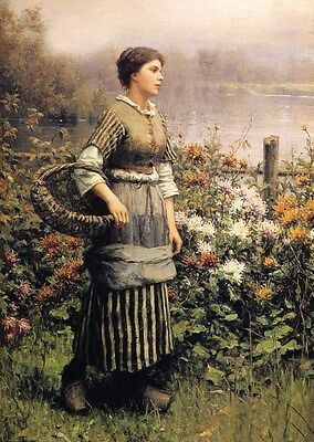 Nice Oil painting Young beauty woman Maid Among the Flowers in landscape