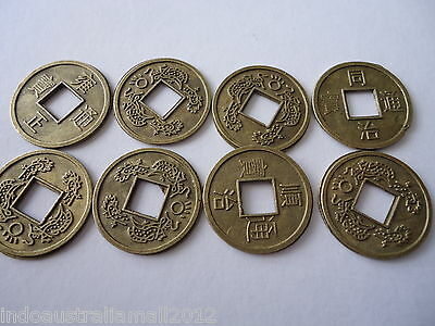 15 x Chinese Bronze Metal Fortune Coins/I Ching/Double Dragon 16mm(FS-CO34)