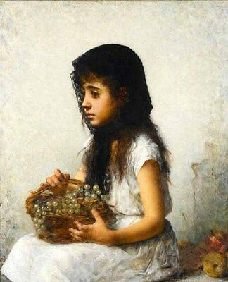 Oil painting Little girl portrait with a basket of fruits grape canvas