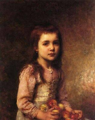 Beautiful Oil painting Alexei Harlamoff - Portrait of a Young Girl with Apples
