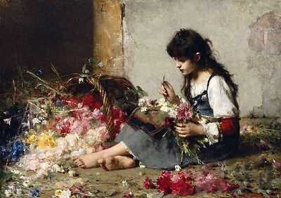 Dream-art Oil painting Alexei Harlamoff - Young girl beauty roses flowers canvas