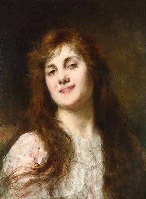 Art Oil painting Alexei Harlamoff - Portrait of young lady with long hair canvas