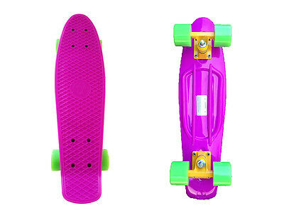 FISH Mini Cruiser Skateboard Banana board Old school 70s Retro-Purple Deck