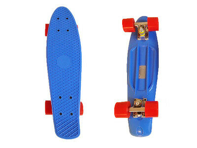 FISH Mini Cruiser Skateboard Banana Board Old School 70s Retro-Blue Deck Board