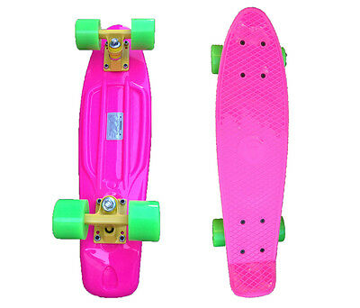 FISH Mini Cruiser Skateboard Banana Board Old School 70s Retro-Pink Deck