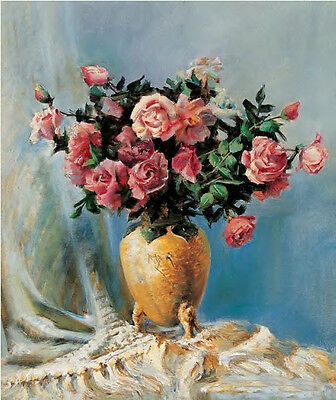 Dream-art Oil painting nice still life roses flowers in vase in view hand paint