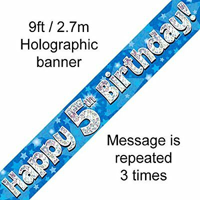 Age 5 ' Happy Birthday ' Party  Banner - Holographic  -  5Th  Blue Boy - New