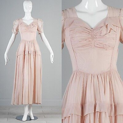 VTG 30s Pale Pink Sheer Chiffon Rouched Poof Sleeve Princess Dress Hollywood