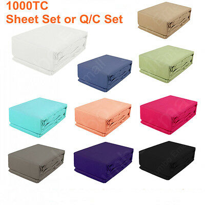 1000TC Egyptian Cotton All Size Quilt Cover or Sheet Set(Fitted,Flat,Pillowcase)