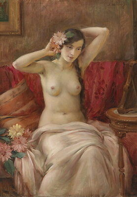Wonderful Oil painting beautiful young girl in her toilet & flowers only canvas