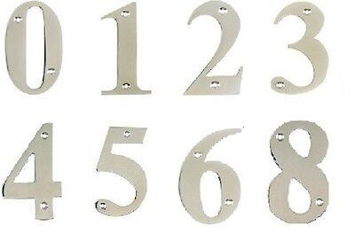 """3"""" / 75mm Chrome Front House UPVC / Wooden Door Numerals / Numbers"""