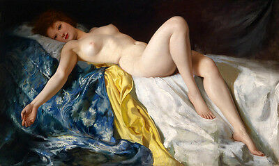 Elegance Oil painting beautiful nude girl on bed canvas - Supermodel