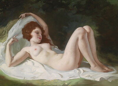 Stunning Oil painting beautiful nude women sleeping in landscape free shipping