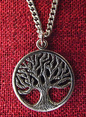 Tree of Life Pendant Celtic GENUINE OZ PEWTER & STAINLESS STEEL Chain Necklace