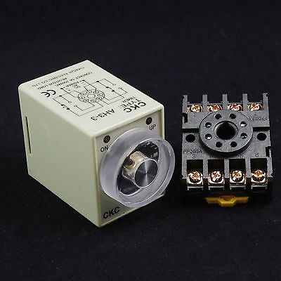 220V Power On Delay AH3-3 Timer 0-10s Time Relay With 8Pins Socket Base PF083A