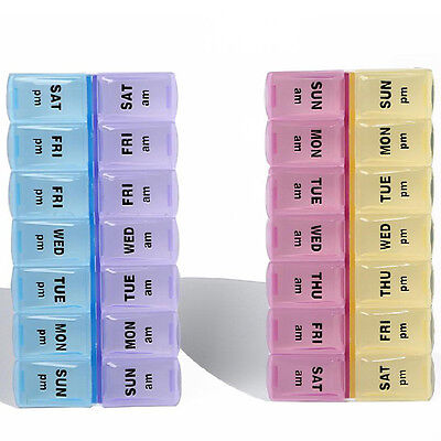 Weekly 7 Day AM PM 14 Compartment Pill Organizer Box Case Storage Medication