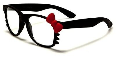 Fashion Hello Kitty Style Glasses Frame With Clear Lens Bow Bowtie Costume Nerdy
