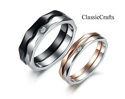 Top quality316L stainless steel shinny crystal two tone women/men band rings