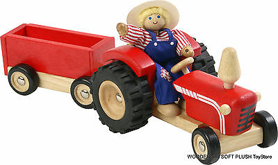 BRAND NEW child's gift TOY wooden FARM TRACTOR & WAGON pretend PLAY imaginative