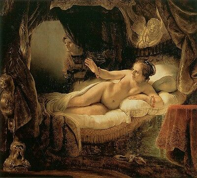 Huge Oil painting Rembrandt - Danae on bed with elders canvas handpainted