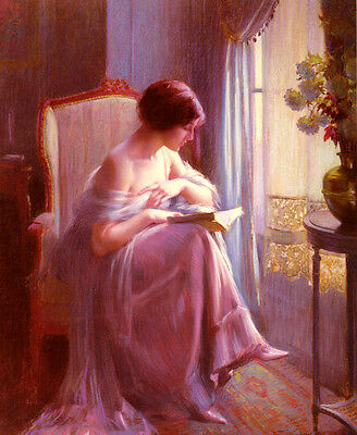 Huge stunning Oil painting young woman reading by the window in sunset