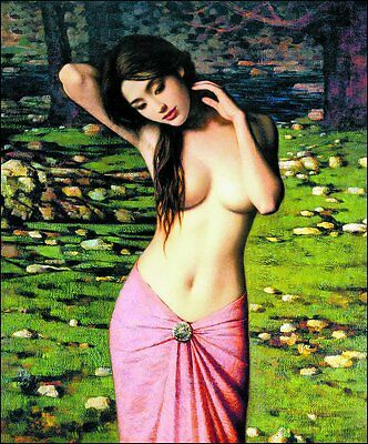 Wonderful Oil painting young naked Chinese girl in pink dress in landscape