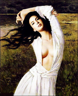Stunning Oil painting young beautiful Chinese girl in white cloth in landscape
