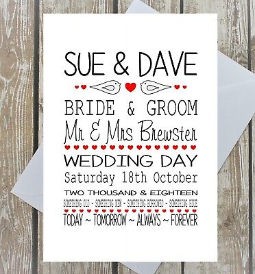 Personalised Wedding Day Card Marriage Love Birds Hearts Names Date Multi