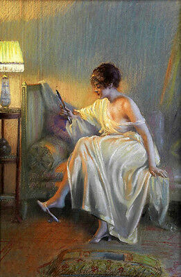 Art oil painting beautiful Young women dressed in pajamas with a mirror at night