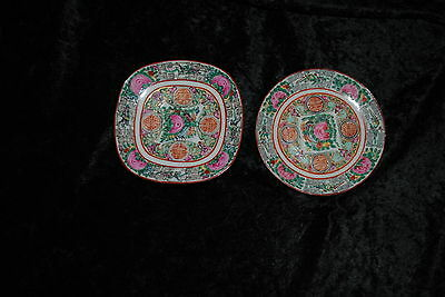 Two YT Decorated In Hong Kong Small Plates, Peony And Bird Pattern, 4 1/2 Inches