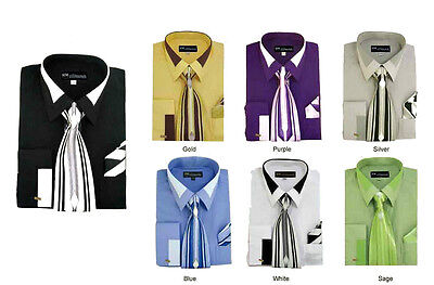 Men/'s Unique design French Cuff Dress Shirt Accent Collar With  Tie /& Hanky SG34