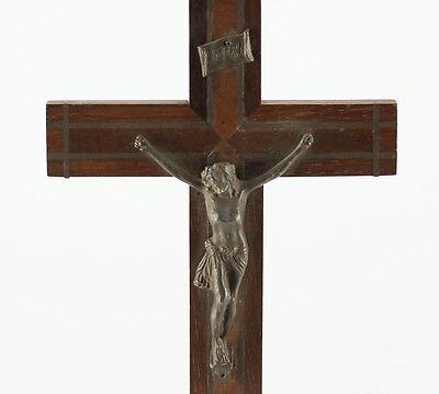 French Bronze Crucifix w/ Jesus, 19th century, Wood cross inlaid bronze or brass