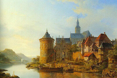 """Art Oil painting castle and church by river in sunset landscape canvas 24""""x36"""""""