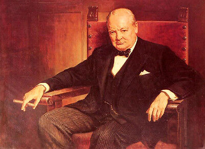 Dream-art Oil painting male portrait Sir Winston Churchill smoking in chair 36""