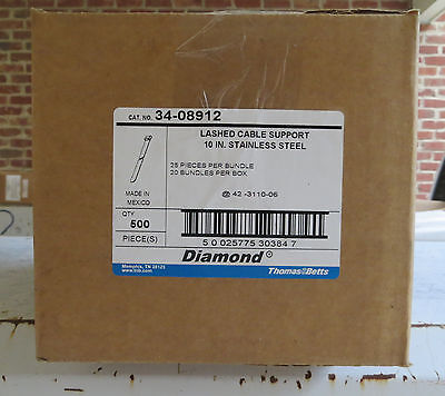 "500 Thomas & Betts (34-08912) 10"" Stainless Steel Lashed cable support NIB!"