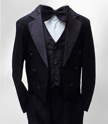 Baby Boys Black Tuxedo Tail Suit 5 Pieces Christening Wedding Page Boy Outfit