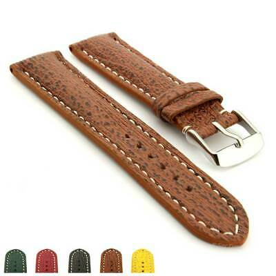 Men's Two-Piece Padded Genuine Shark Leather Skin Watch Strap Band VIP SS Buckle