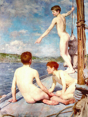 Wonderful Oil painting Henry Scott Tuke - gay Nude young boys on the sail boat