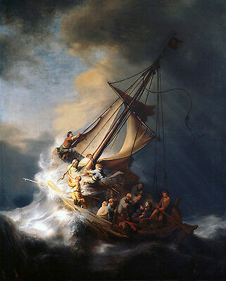 Art Oil painting Rembrandt - Christ on sail boat with huge ocean waves - storm
